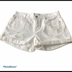 Articles of Society Destructed White Denim Shorts